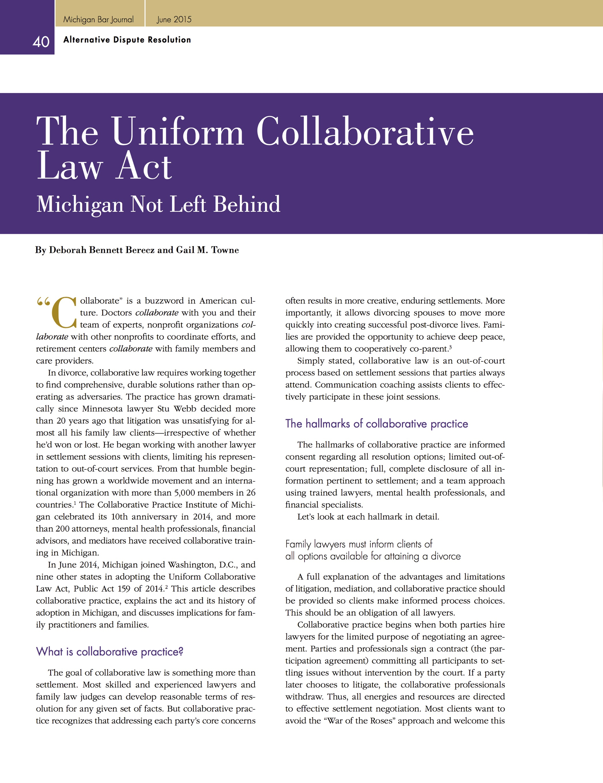 The Uniform Collaborative Law Act